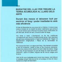 Ajuntament de Navarcles Informa. Buidatge del llac per treure la terra acumulada al llarg dels anys