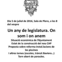Un any de legislatura. On som i on anem 2016